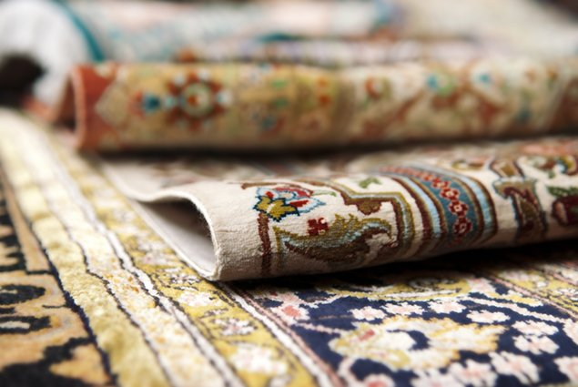 Selective focus image of Persian silk rugs After DryCleaning